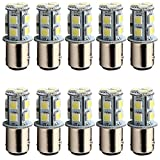 EverBright 10-Pack White 1157 BAY15D P21/5W 1016 1034 7528 1157A 2057 5050 13-SMD LED Replacement Bulb Brake Light Tail Backup Parking Side Marker Light (DC-12V)