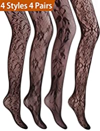 4 Pairs 4 Styles Women's Hollow Out Fishnet Pantyhose Tights 4 Women
