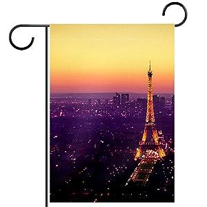 Eiffel Tower Sunset Garden Flag, Double Sided Garden Outdoor Yard Flags for Summer Decor 28x40 Inch