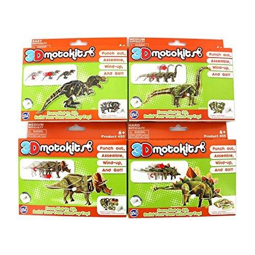 3D Motokits Punch Out, Assemble, Windup, GO! Toy (Dinosaur Series) Triceratops, Stegosaurus, Diplodocus, T-Rex