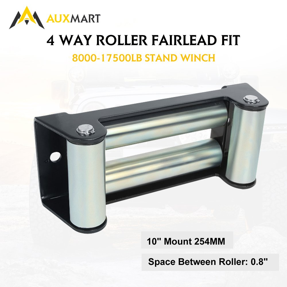 AUXMART Winch Roller Fairlead for Steel Cable 10'' Bolt Pattern by AUXMART (Image #1)