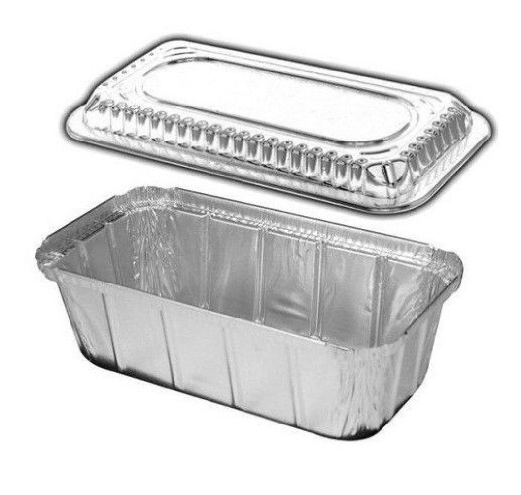 1 1/2 lb. IVC Disposable Aluminum Foil Loaf Pan +Clear Dome Lid 100PK