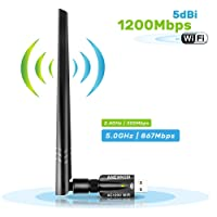 Wlan USB Adapter, USB 3.0 WIFI Stick 1200Mbits PC, Wireless Wifi Dongle mit 5dBi Antenne, Wireless Wlan adapter kompatibel mit Windows für Pi 3 / PC / Desktop / Laptop, Windows 10/8 / 8.1 / 7 / Vista, Mac OS, Linux