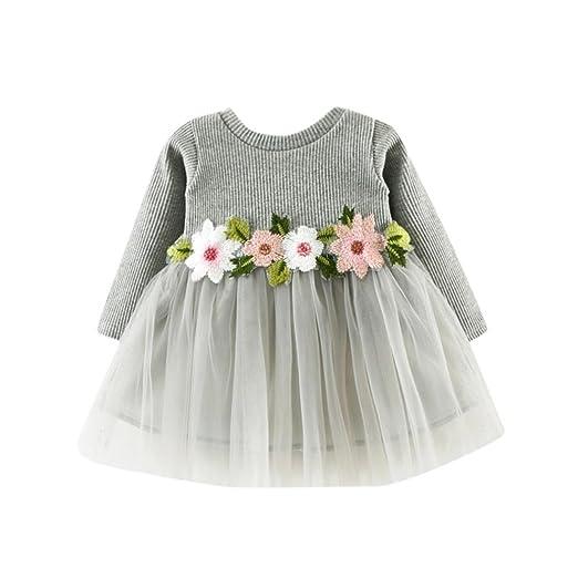 06650b14bc47 Dinlong Toddler Baby Girls Long Sleeve Tutu Dress Cute Jersey Mesh Floral Tulle  Dresses (0