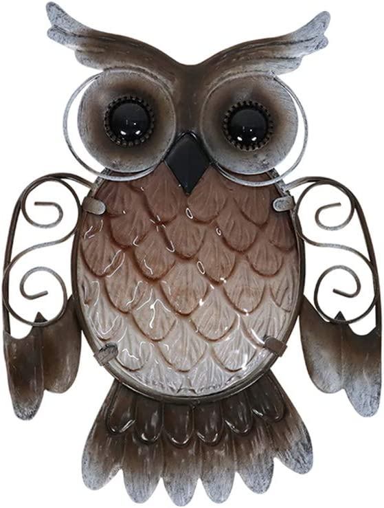 Liffy Metal Owl Wall Decor Outdoor Indoor Owl Hanging Decorations Garden Fence Metal and Glass Hanging Art for Porch,Patio,Yard