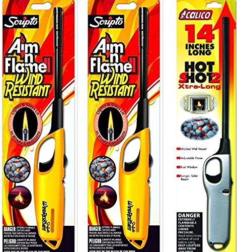 3 Pack - 1 Pack Calico Hot Shot 2 Xtra Long + 2 Pack Scripto Multi Purpose Wind Resistant Lighter (Assorted Color) by Calico & Scripto