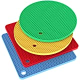 silicon pot holder set - Vremi Silicone Trivet Set - 4 Heat Resistant Pot Holders Trivets for Hot Dishes - Colorful Decorative Square and Round Cooking Potholders Pads for Kitchen Table Countertop - Blue Red Yellow Green