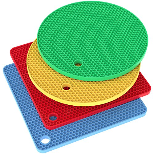 Vremi Silicone Trivet Set - 4 Heat Resistant Pot Holders Trivets for Hot Dishes - Decorative Square and Circle Cooking Potholders Pads for Kitchen Table Countertop - Blue Red Yellow Green