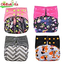 Baby Nappy Pocket Bamboo Charcoal Cloth AIO Diapers, Sewn in Insert Double Gussets by Ohbabyka