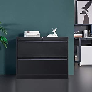 """2 Drawer File Cabinet with Lock, Stainless Steel Full Metal Lateral File Cabinet for Home and Office, 35.43"""" L x 17.72"""" W x 28.39"""" H, Black"""