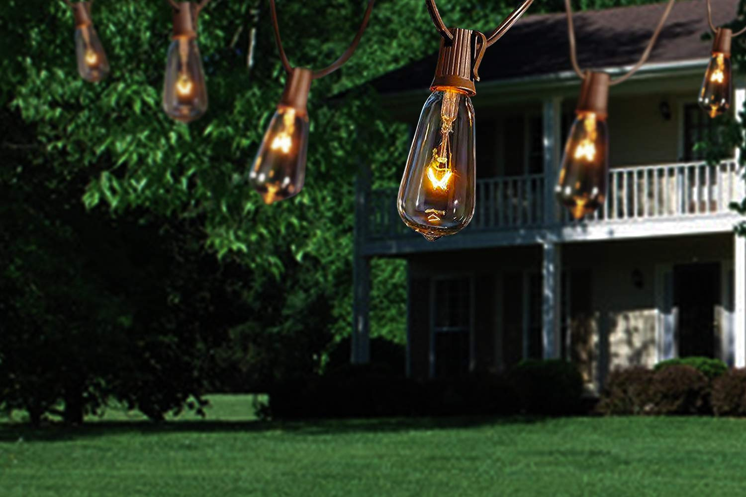 20Ft Outdoor Patio String Lights,ST40 String Lights with Clear edison Bulbs,UL listed set of 20 Glass Edison String Lights Garden/Backyard Party/Wedding Indoor String Lights(Plus 1 Extra Bulbs)-Brown