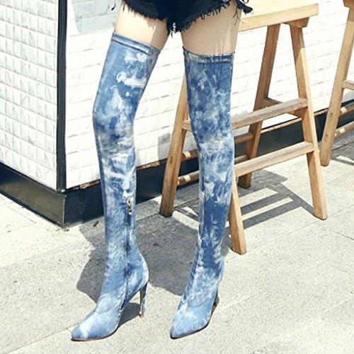 Ripped Denim Botas Altas De Muslo Para Mujeres Stretch Over Knee Stiletto Tacón Puntadas De Cremallera Botas Puntiagudas Graffiti