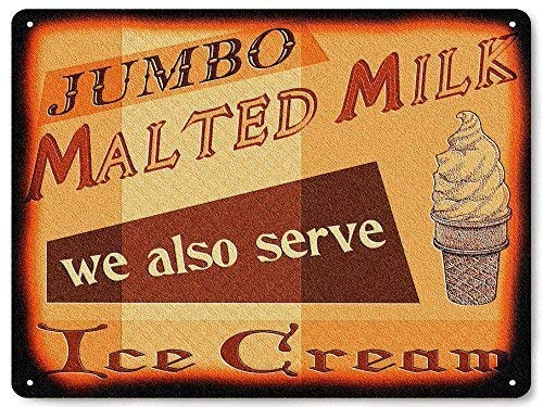 Unoopler Dairy Metal Sign Cow Milk ice Cream Malt Shop for Diner Deli Kitchen Wall Decor 12in x 16in.