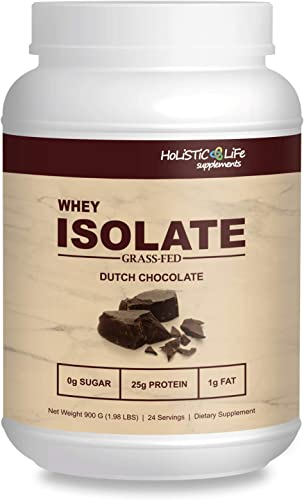 Holistic Life 100 Whey Isolate Protein Powder, Low Carb, Keto Friendly, Dutch Chocolate, 2 lbs
