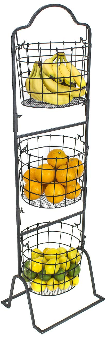 Sorbus 3-Tier Wire Market Basket Stand for Fruit, Vegetables, Toiletries, Household Items, and More, Stylish Tiered Serving Stand Baskets for Kitchen, Bathroom Storage Organization (Black) by Sorbus