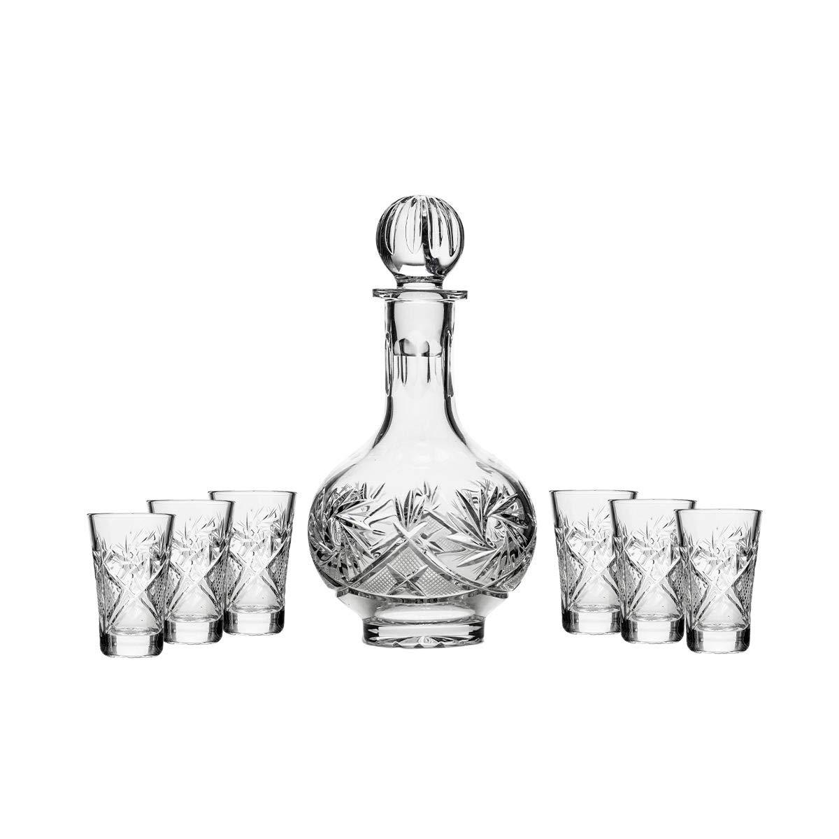 Vodka Set Russian Cut Crystal 12 Oz Carafe Decanter & 6 Crystal Shot Glasses 35 Ml 1.2 Oz
