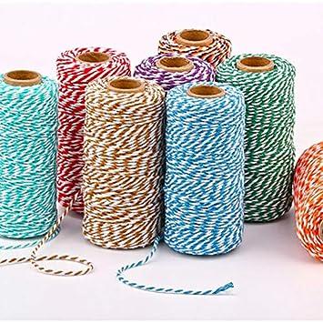Basteln,Aufbinden,DIY usw Schwarz wei/ß Dekorieren Zweifarbiges Baumwollseil /Ø2 mm,Baumwolle Seil zum Verpacken Baumwolle Outflower Spule 100 m