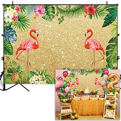 Allenjoy 7x5ft Golden Tropical Flamingo Backdrop Hawaiian Festas Luau Flamingle Party Banner Gold Glitter Sparkle Summer Adult Kids Birthday Photography Background Baby Shower Photo Booth -