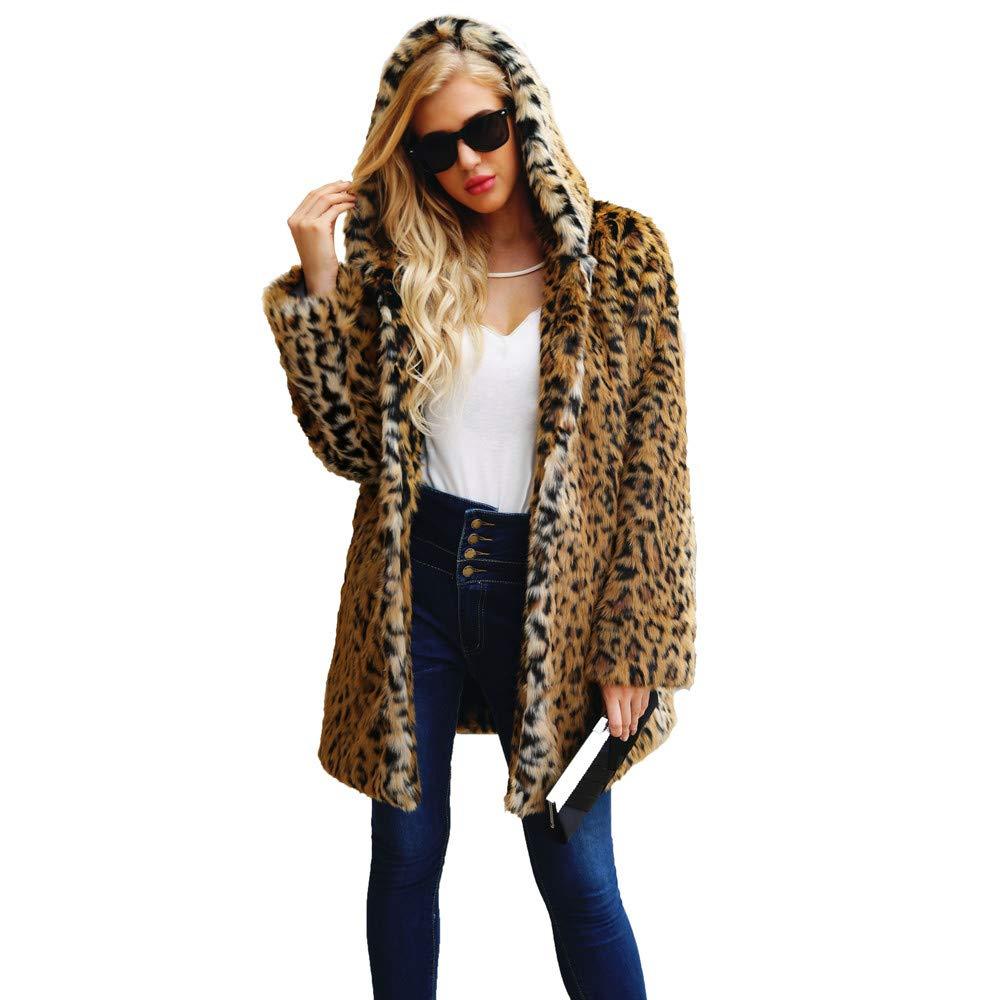 Kemilove Women Elegant Vintage Leopard Print Lapel Faux Fur Coat Fall Winter Outwear