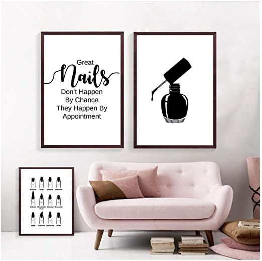 Amazon Com Nail Salon Wall Decoration Beauty Salon Wall Art Canvas Painting Nail Polish Posters And Prints Nail Tech Artist Gift 40x60cmx2 Unframed Canvas Wall Art Tableaux Muraux Everything Else
