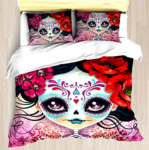 Amelia Comforter Set - Amelia Calavera - Sugar Skull - Duvet Cover Set Soft Comforter Cover Pillowcase Bed Set Unique Printed Floral Pattern Design Duvet Covers Blanket Cover Twin/XL Size