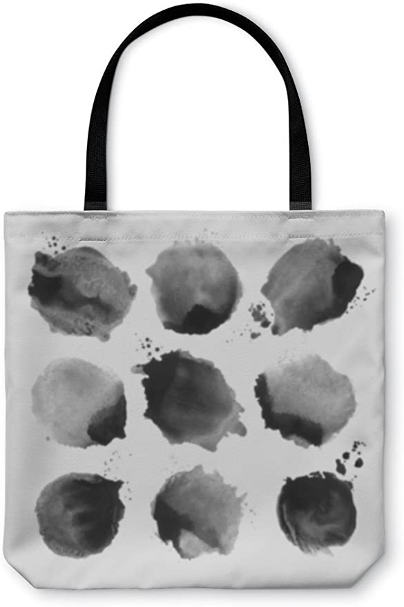 Gear New Shoulder Tote Hand Bag 252098GN Black Watercolor Circles
