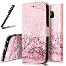 Galaxy S6 Edge Stand Case,Samsung Galaxy S6 Edge Wallet Case,Galaxy S6 Edge Flip Case,SKYMARS Samsung Galaxy S6 Edge Cover Marble Creative Design PU Leather Flip Kickstand Cards Slot Wallet Magnet Stand Case for Samsung Galaxy S6 Edge Rose Gold Sand