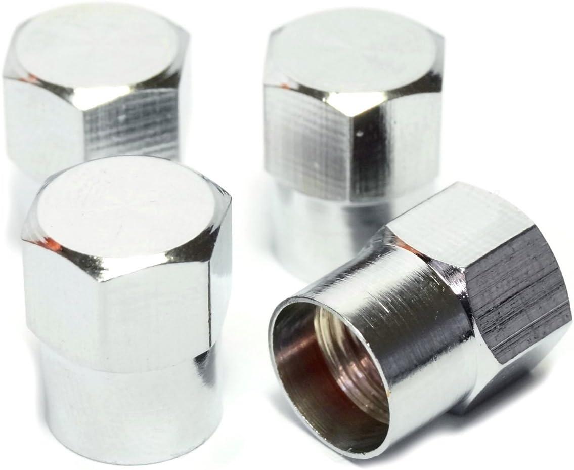 Preskin Ventilkappen 4 X Hexabig Auto Ventilkappe Aus Messing Chrom Ventildeckel Für Reifenventile Auto