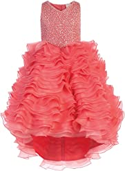 91df3f3fe High-Low Girls Pageant Dress/Gown with Layered Ruffles and Sequins Bodice