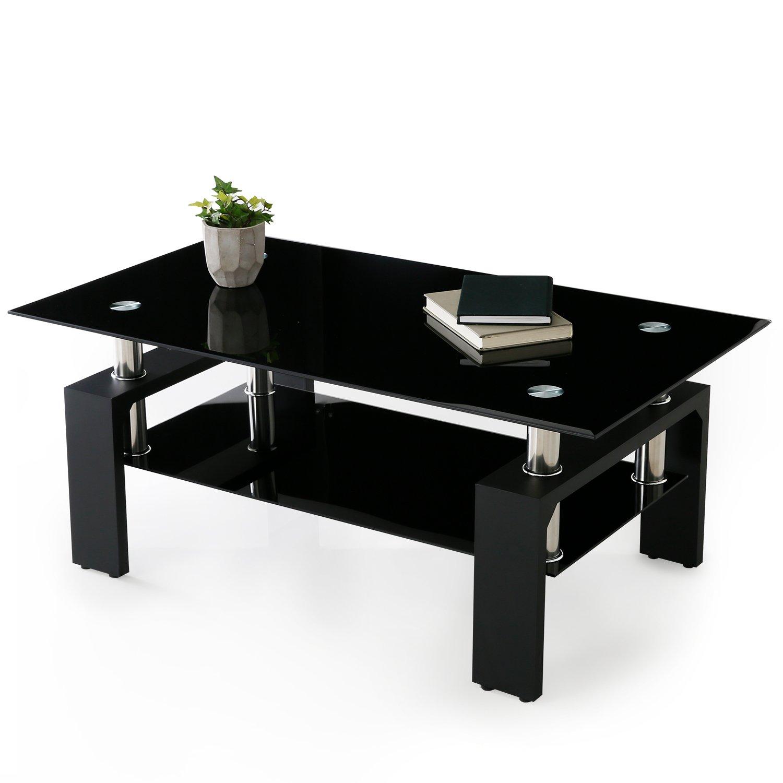 LOWYA (ロウヤ) ローテーブル ガラステーブル 幅110cm 強化ガラス天板 ブリリアントカット テーブル ブラック おしゃれ 新生活 B06VWX8ZX4 グロッシーブラック