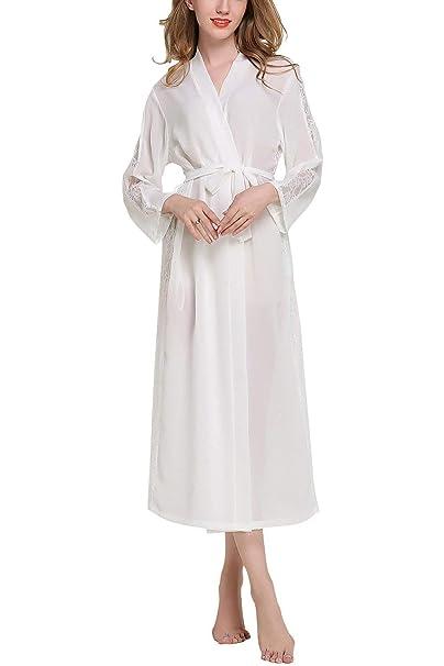 Vestido De Damas Bata De Gasa Kimono De Encaje Clásico De Gasa para Hombres Noche Larga ...