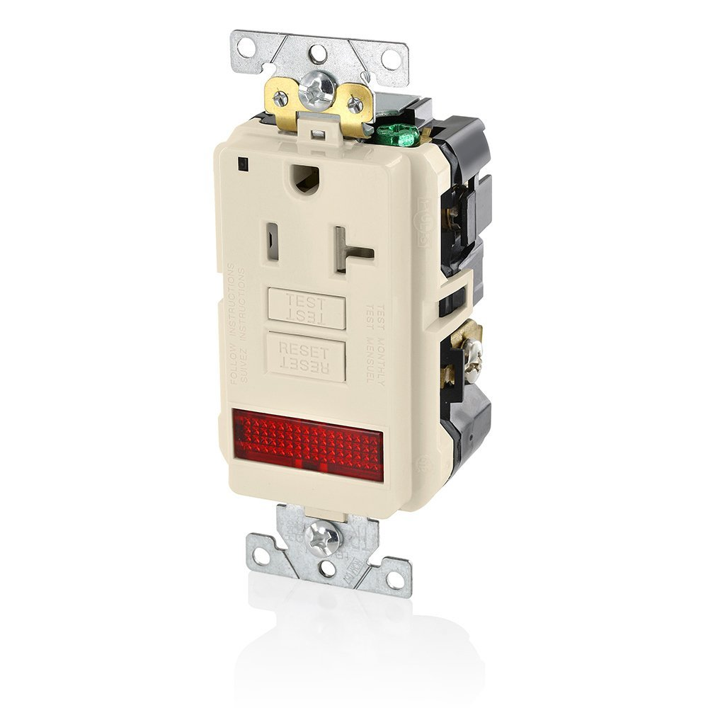 Leviton GFPL2-PLW 20A-125V Extra-Heavy Duty Industrial Grade Pilot Light Tamper-Resistant Self-Test GFCI Receptacle, 20-Amp, White,
