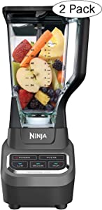 Ninja Professional 72oz Countertop Blender with 1000-Watt Base and Total Crushing Technology for Smoothies, Ice and Frozen Fruit (BL610), Black (Twо Расk) (Renewed)