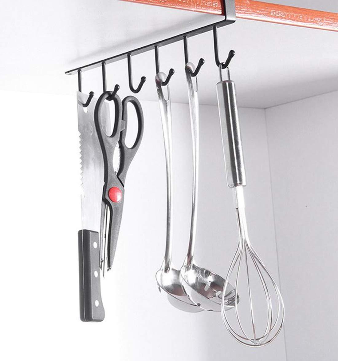 lnlyin 6/ganchos taza soporte para colgar gancho armario de cocina bajo Shelf de almacenamiento Rack organizador negro