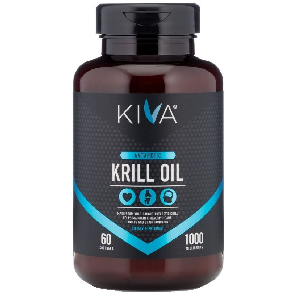 Kiva Antarctic Krill Oil (HIGH PURITY) 1000mg with Astaxanthin, Omega 3, DHA, EPA, Heavy Metal Tested (60 Softgels) *LIMITED TIME SALE PRICE*