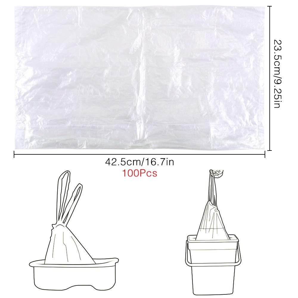 bolsas de inodoro de entrenamiento universales 44 x 24 cm 10 rollos bolsas de viaje para ni/ños 100 unidades desechables con cord/ón para ni/ños Homgaty Bolsas para orinal de viaje