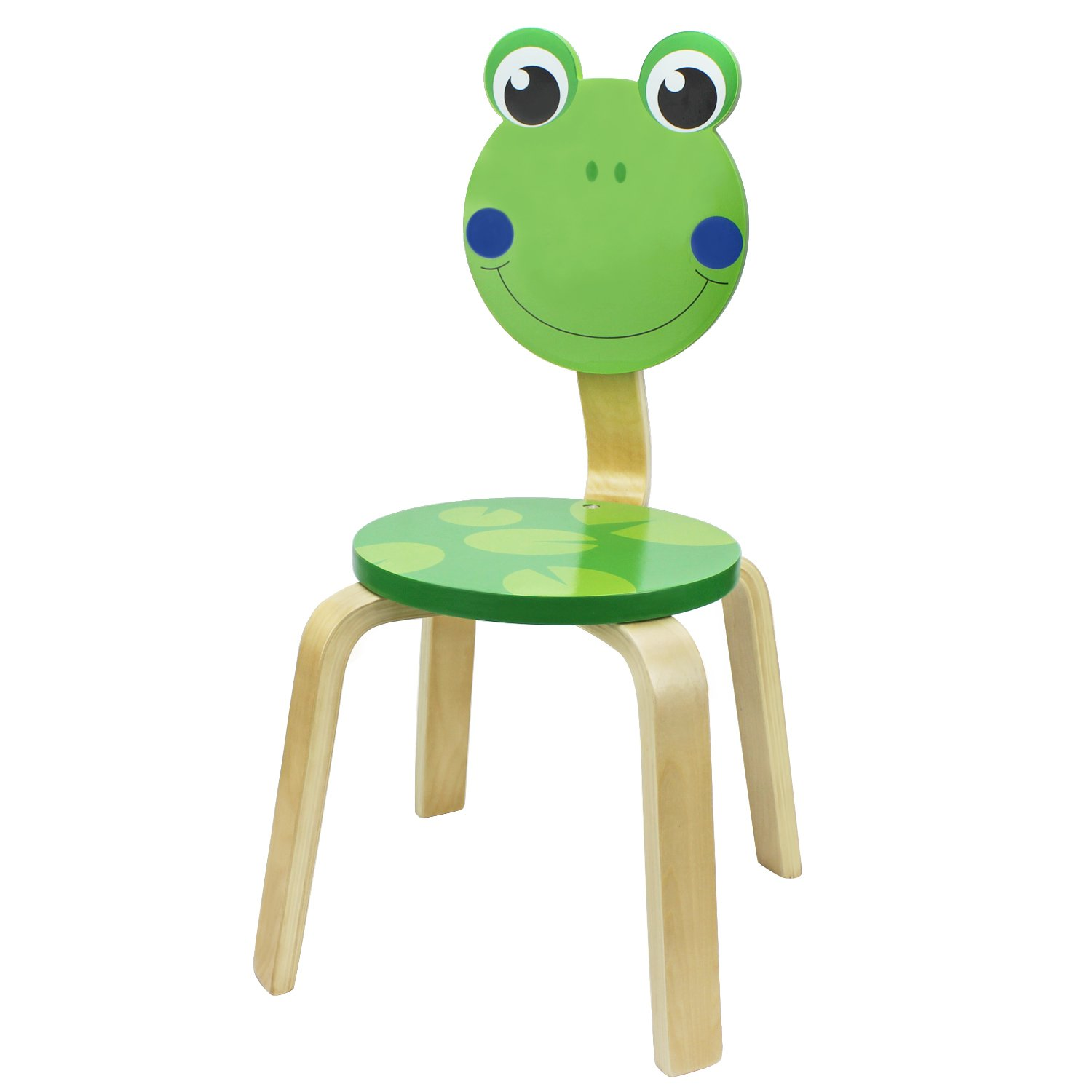 iPlay, iLearn Kids Wood Stackable Chair, Wooden Cute Frog Seat for Indoor, Outdoor, Playroom, Classroom, Kindergarten, Animal Furniture Round Stool for 2, 3, 4, 5 Year Olds Up Toddler, Child, Boy,Girl