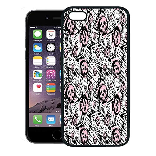 Semtomn Phone Case for iPhone 8 Plus case Cover,Skulls Doodle Pattern Modern Ink Artistic Authentic Unique Scrapes Watercolor Blotted,Rubber Border Protective Case,Black ()