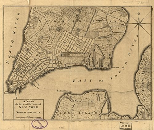 1776 map of Land use, Rural, New York, New York A plan of the city and environs
