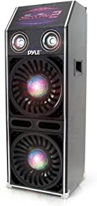 """DJ Dance Passive Speaker System - 1500 Watts Power PA Stereo Dual 10"""" Woofer 3"""" Tweeter Full Range Stereo Sound Built-in Flashing Color Lights MP3 File Compatibility - Pyle PSUFM1070P"""