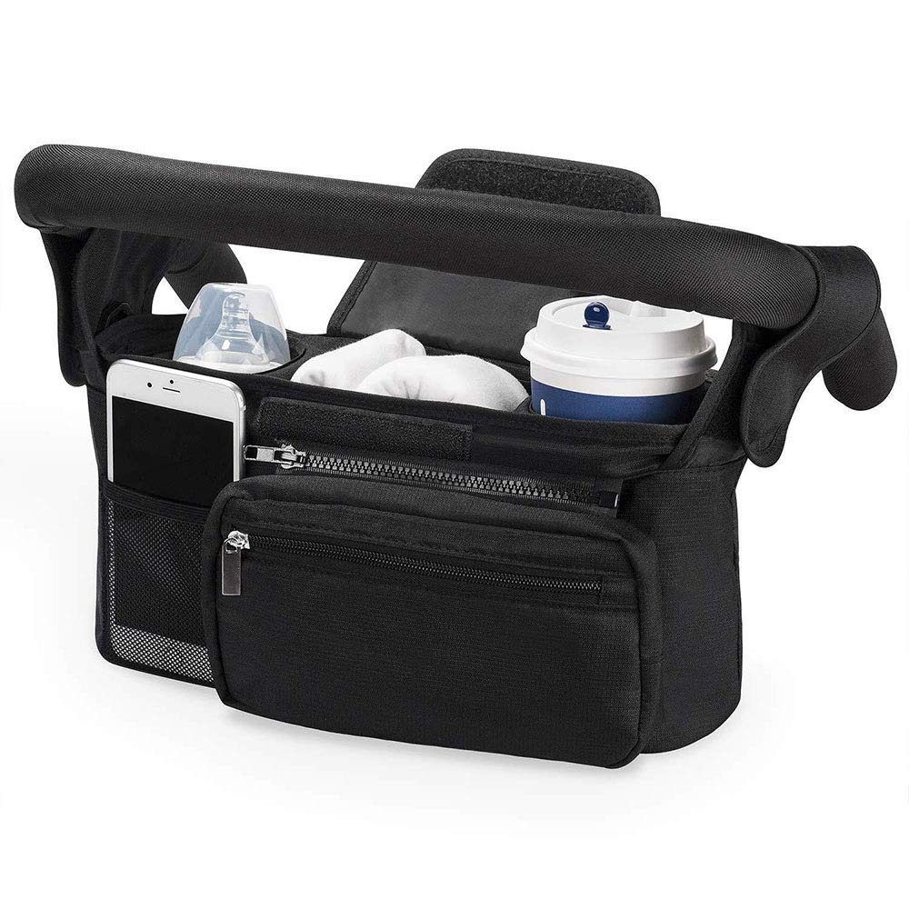 Stroller Organizer Universal Stroller Organizer Bag With 2 Cup Holders For All StrollersLarge Stroller Caddy With Carrying Strap,Zip Pouches For Larger Items, Black Parents Stroller Organizer Bag