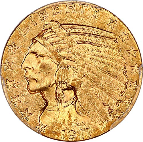 1911 S $5 Indian Gold Five Dollar MS62 PCGS\CAC