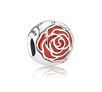 97f669228 Amazon.com: Pandora 791575EN09 Charm Disney, Belle's Enchanted Rose with  Red Enamel: Arts, Crafts & Sewing