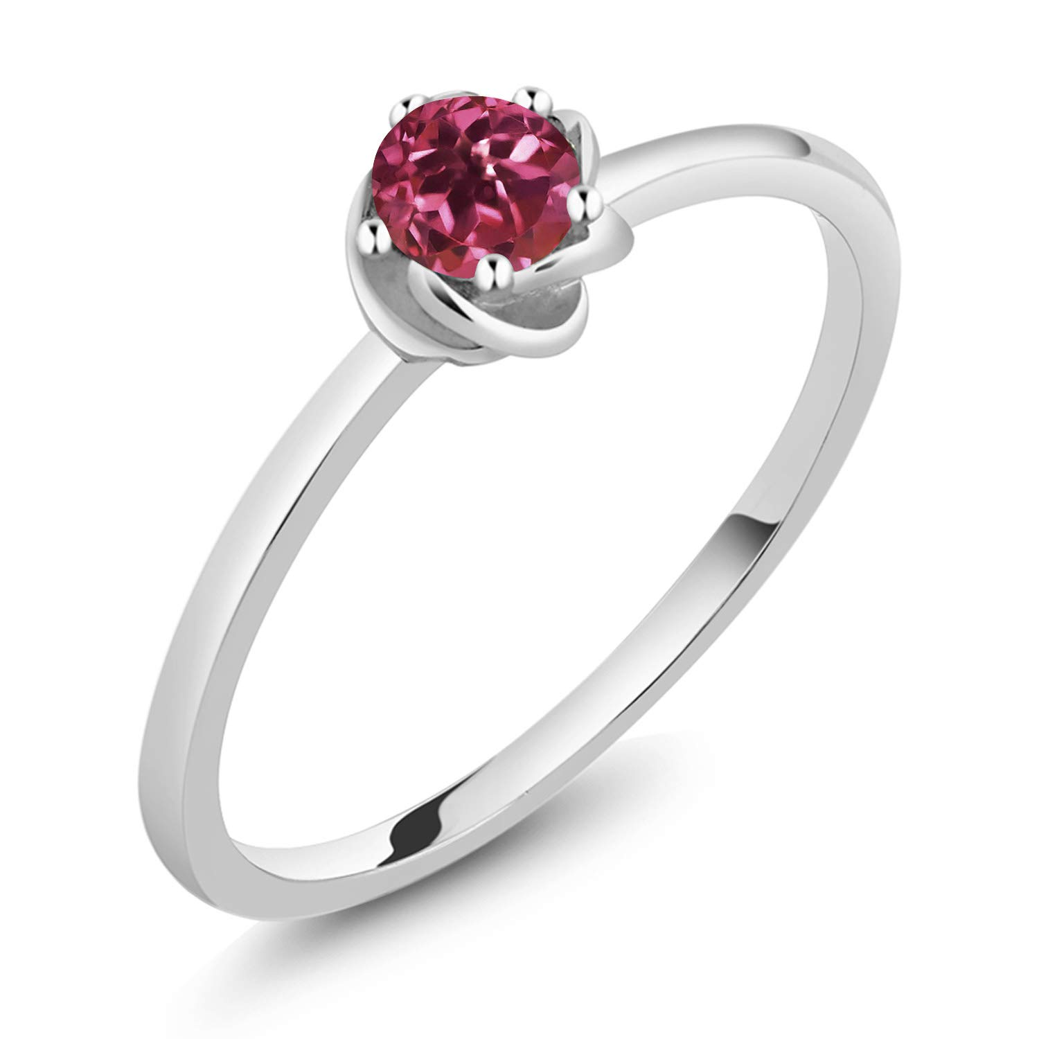 Gem Stone King 10K Solid White Gold Pink Tourmaline Women Solitaire Engagement Anniversary Ring (0.15 Ctw Round Cut, Available in size 5, 6, 7, 8, 9) by Gem Stone King