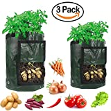 MiGaoMei Grow Bags 3-Packs Tomato Bags Reusable Vegetables Plant Bags for Potato, Carrot, Onion,Plant container,Aeration Fabric pots with handles (7 Gallon x 2 & 10 Gallon x 1)