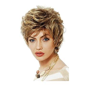 SHKY Nueva peluca de pelo corto ondulado elegante Peluca de pelo corto recto rubio Cosplay Peluca