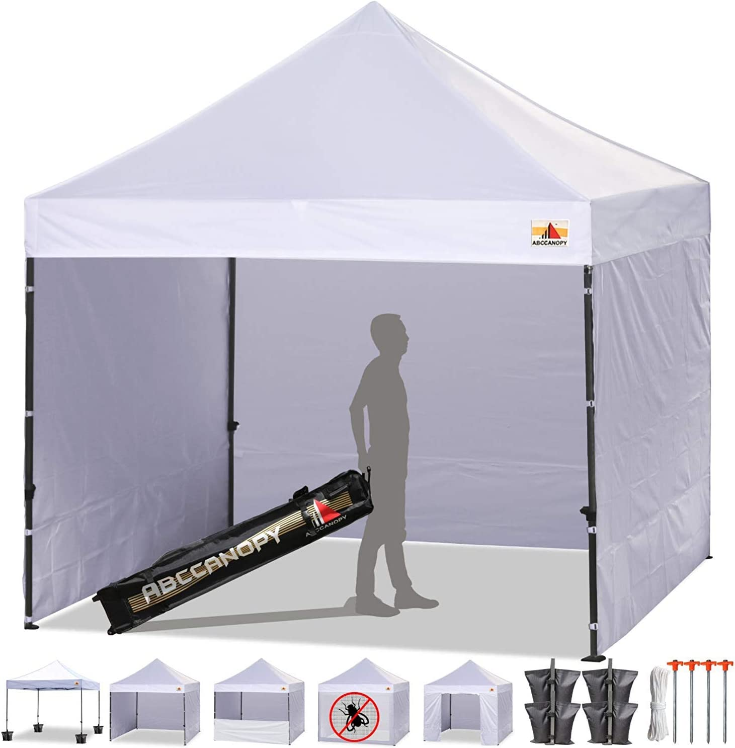 ABCCANOPY Canopy Tent Popup Canopy 10×10 Pop Up Canopies Commercial Tents Market stall with 6 Removable Sidewalls and Roller Bag Bonus 4 Weight Bags and 10ft Screen Netting and Half Wall, Bright White