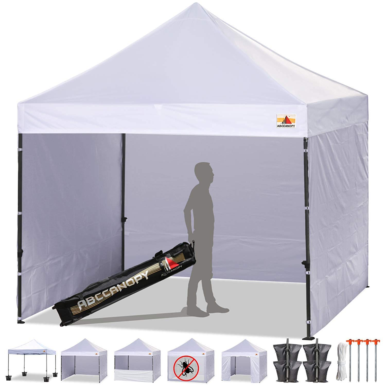 ABCCANOPY Canopy Tent Pop Up 10×10 Commercial Tents with Sides Outdoor Canopy Pop-up Bonus 6 Side Walls, Including Door Wall, Half Wall and Mesh Wall, Upgrade Roller Bag, White