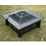 Outsunny Square 32″ Outdoor Backyard Patio Metal Firepit