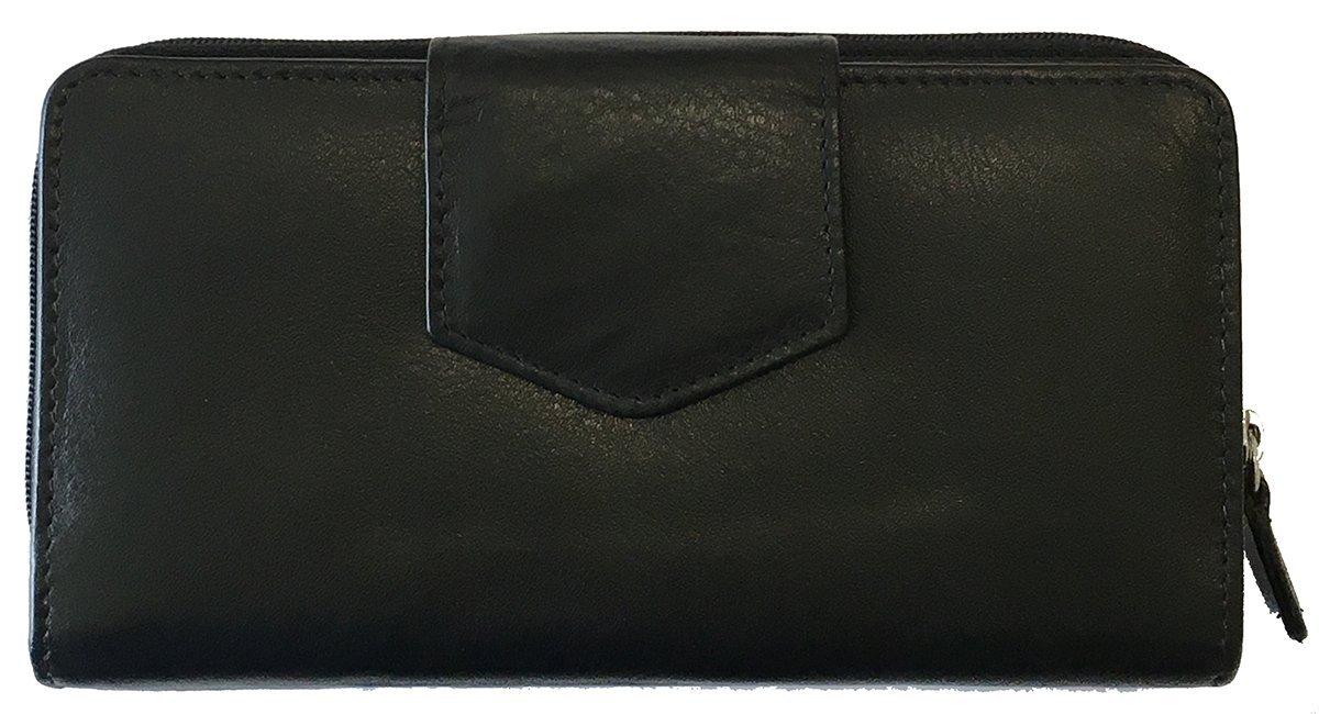 Black RFID Leather Checkbook Wallet